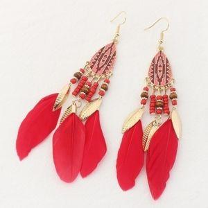 Boho Red Gold Feather Beaded Dangle Earrings